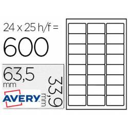 Etiqueta Adhesiva Avery 63,5x33,9 mm Color blanco Caja con 25 hojas