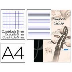 Bloc Musica Oxford DIN A4 24 hojas 90 gr Pentagrama Interlineado 2 mm+ cuadricula 5mm