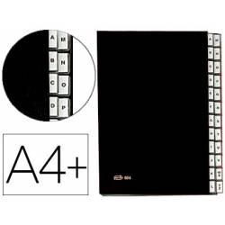 Carpeta Clasificadora Pardo DIN A4+ Carton Compacto con Fuelle 24 departamentos Negro