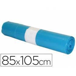 Bolsa basura azul 85x105cm uso industrial galga 110 rollo 10 unidades