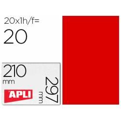 Etiqueta Adhesiva Apli 210x297 mm Color Rojo Fluorescente Caja con 20 hojas