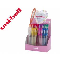 Expositor Boligrafo uni ball um-120 signo 0,7 mm tinta gel Con 48 unidades Colores con purpurina