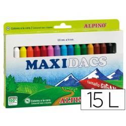 Lapices cera Alpino Maxidacs jumbo caja de 15 unidades colores surtidos