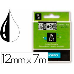 Cinta Dymo D1 negro y transparente 12mm x 7 mt