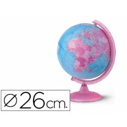 Globo terraqueo geo-politico colores rosa y azul