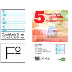 Recambio Liderpapel folio 4 taladros 80g cuadriculado pautado 5 mm