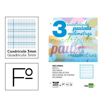 Recambio Liderpapel folio 80g cuadriculado pautado 3 mm