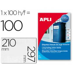 Etiquetas adhesivas marca Apli 12121 tamaño 210x297 mm poliéster impresión laser