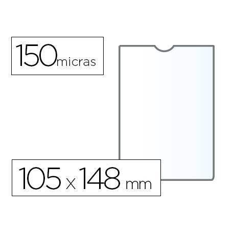 Funda portadocumento Q-connect din a6 150 micras pvc transparente con uñero
