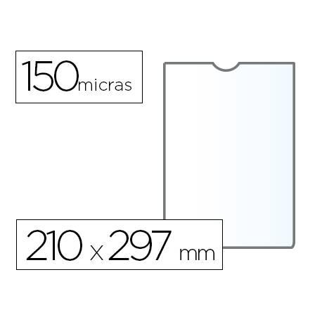 Funda portacarnet Q-connect 210x297mm 150 micras pvc transparente con uñero