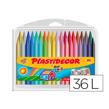 Lapices cera Plastidecor caja de 36 unidades colores surtidos