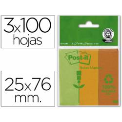 Bloc nota adhesivas recicladas Post-it 25 x 76 mm