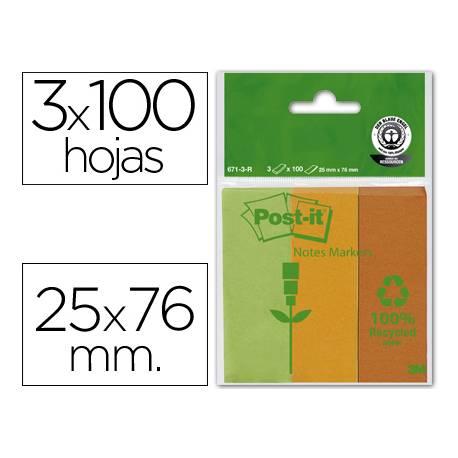Bloc nota adhesivas recicladas Post-it 25 x 76 mm