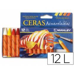 Lapices de cera masats acuarelable caja 12 unidades colores surtidos