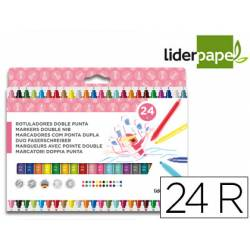 Rotuladores Liderpapel Duo Lavable Doble Punta Caja 24 Colores