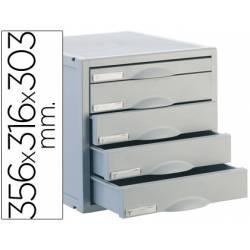 Modulo 5 cajones sobremesa marca Archivo 2000 gris