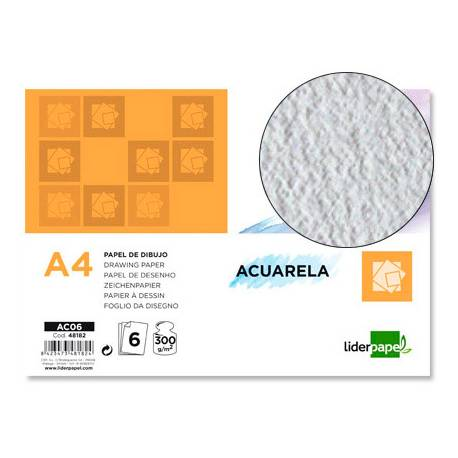 Papel acuarela Liderpapel Din A4 gramaje 300 g/m2