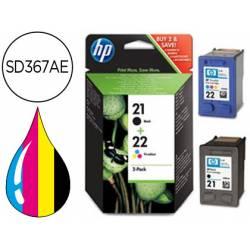 Cartucho combo HP 21 y 22 Tricolor y Negro SD367AE