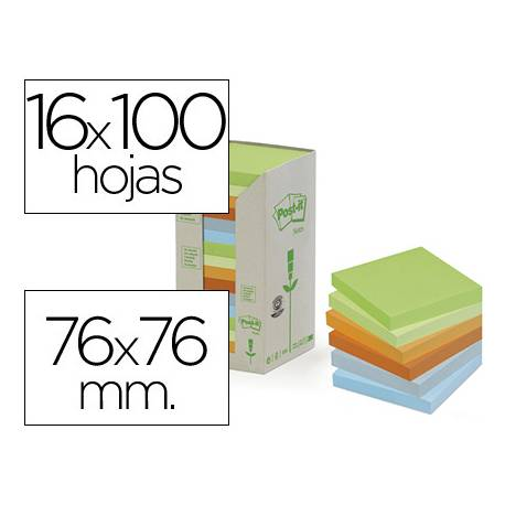 Bloc quita y pon recicladas Linea Verde marca Post-it ®