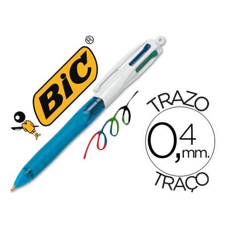 Bolígrafo marca Bic 4 colores Grip cuerpo azul 0,4 mm