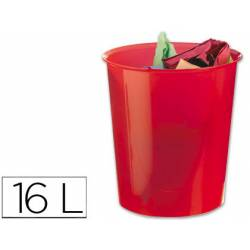 Papelera plástico Q-Connect rojo transparente de 16 litros