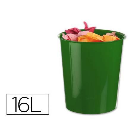 Papelera plástico Q-Connect verde opaco de 16 litros