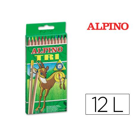 Lapices de colores Alpino triangulares caja 12 unidades