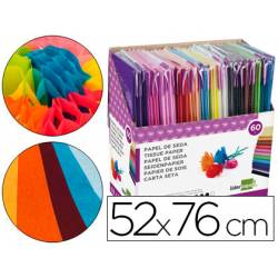 Papel seda liderpapel 50x76 cm expositor 60 bolsas de 5 hojas12 colores surtidos