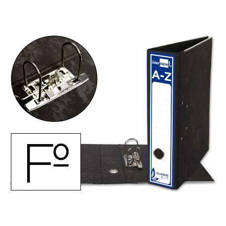 Archivador de palanca Liderpapel Classic Blue 2 anillas folio carton entrecolado sin rado lomo 80mm negro compresor metal.