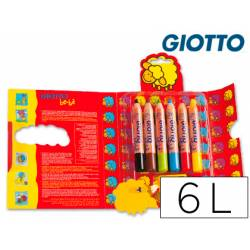 Lapices de colores Giotto redondos bebe caja 6 lapices 104 mm
