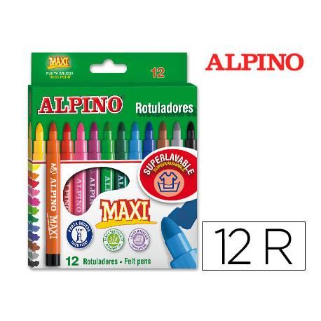 Rotulador Alpino Maxi punta gruesa lavable caja 12 rotuladores