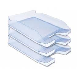Bandejas sobremesa plastico Q-Connect color azul claro transparente