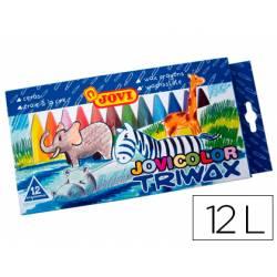 Lapices cera Jovi Jovicolor Triwax caja de 12 unidades colores surtidos