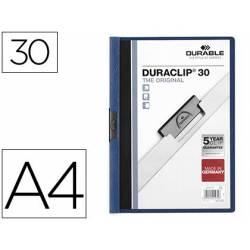 Carpeta dossier con pinza central duraclip Durable 30 hojas Din A4 color azul oscuro