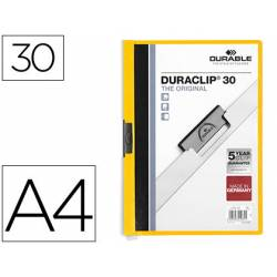 Carpeta dossier con pinza central duraclip Durable 30 hojas Din A4 color amarillo
