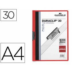 Carpeta dossier con pinza central duraclip Durable 30 hojas Din A4 color rojo