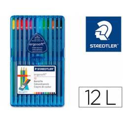 Lapices de color Staedtler Ergosoft triangulares finos estuche de plastico 12 unidades