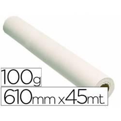 Papel estucado reprografia para Plotter 100 g/m2, 610 mm x 45 m.