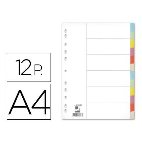 Separadores de cartulina Q-Connect multitaladro DIN A4 Juego de 12