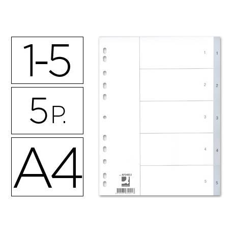 Separadores de plastico Q-Connect numericos multitaladro DIN A4