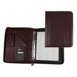 Portadocumentos tipo Carpeta Csp Marron con calculadora y bolsillo para movil