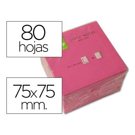 Bloc quita y pon Q-Connect 75x75mm color Rosa Neon