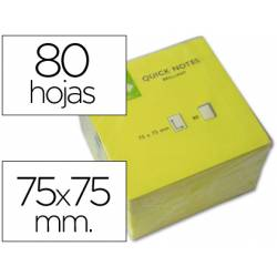 Bloc quita y pon Q-Connect 75x75mm color Amarillo Neon