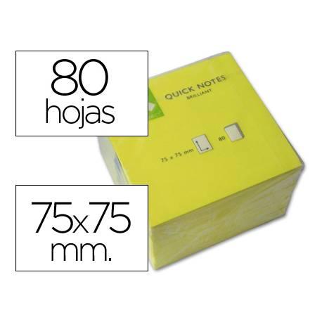 Bloc quita y pon Q-Connect 75x75mm color Amarillo Neon