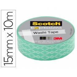Cinta Adhesiva Washi Tape Azul Rombo 10mt x 15mm Papel de arroz marca Scotch