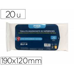 TOALLITA DESINFECTANTE PARA SUPERFICIES MEDIDAS 190 X 120 MM PACK 20 UNIDADES