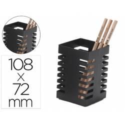 CUBILETE PORTALAPICES Q-CONNECT METAL CUADRADO NEGRO DIAMETRO 72 MM ALTURA 108 MM