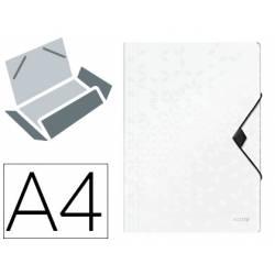 Carpeta de gomas Leitz Wow con solapas Polipropileno Din A4 color Blanco