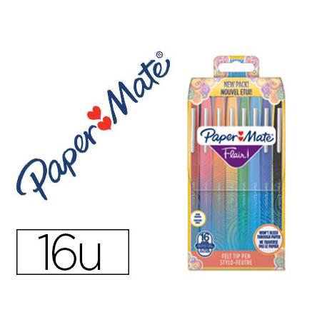 Estuche Rotulador Paper Mate Flair Original Tropical Vacation 16 Unidades Colores Surtidos
