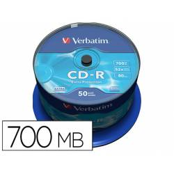 CD-R VERBATIM CAPACIDAD 700MB VELOCIDAD 52X 80 MIN TARRINA DE 50 UNIDADES